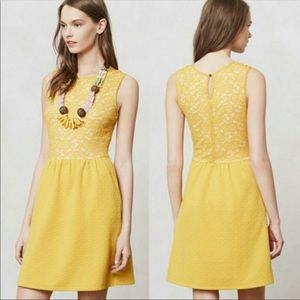 Anthro Maeve Vera Yellow Lace Fit and Flare Dress